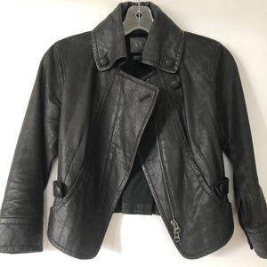 Armani Exchange genuine leather cropped jacket S